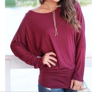 Tops - Burgundy best selling dolman long sleeves top